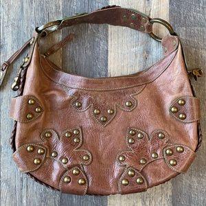 ISABELLA FIORE Brown Leather Handbag Purse